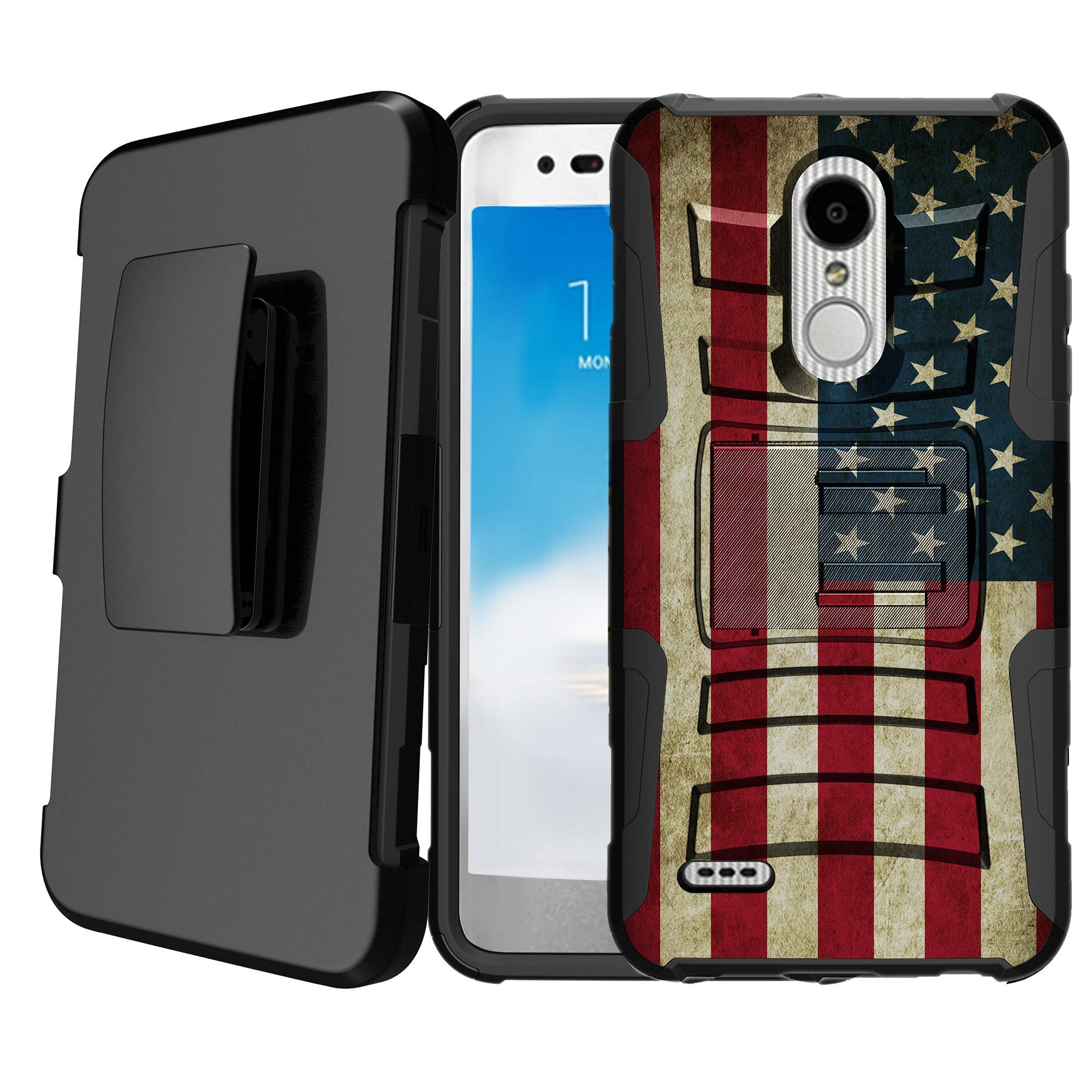 Untouchble | Flag Case for LG Stylus 4, LG Stylo 4 Kickstand Case [Heavy Duty Clip] Holster Case Combo Dual Layer Case Built in Kickstand - Vintage American Flag