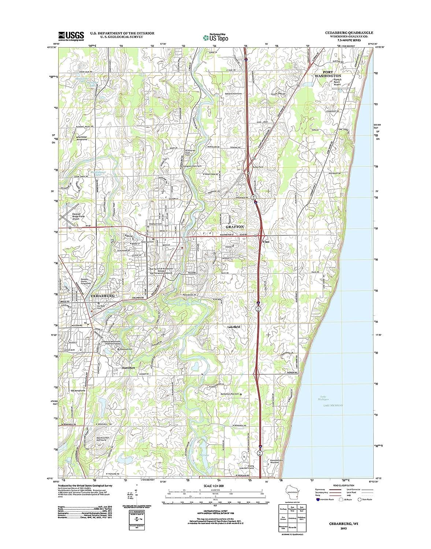Cedarburg Wisconsin Map.Amazon Com Topographic Map Poster Cedarburg Wi Tnm Geopdf 7 5x7