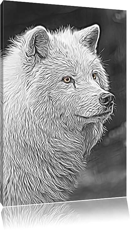 Magnífica lobo polar negro/blanco Deluxe sobre lienzo, enorme XXL ...