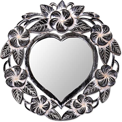 NOVICA Hand Carved Natural Suar Wood Heart Shaped Floral Wall Mirror from Indonesia Frangipani Heart