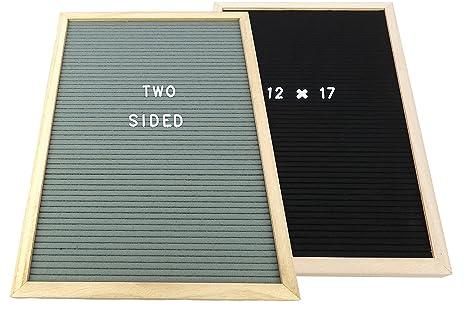 Amazon.com : 12X17 INCH Felt Letter Board TWO SIDED - Black & Gray ...