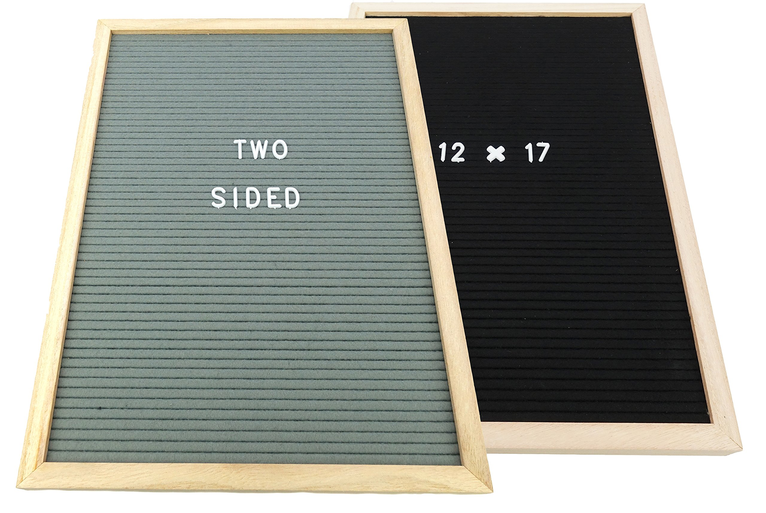 12X17 INCH Felt Letter Board TWO SIDED - Black & Gray Reversible - Message Menu Sign 10 x 10 and 12 x 12 and 12 x 17 inch Oak Wooden Frame - Changeable Letter Board w/270 White Letters (12X17 INCH)