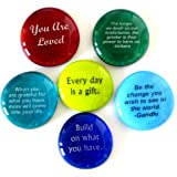 Encouragement Stones, Motivational and Inspirational Quotes and Sayings on Translucent and Opaque Glass Stones, Set of 6, by Lifeforce Glass.