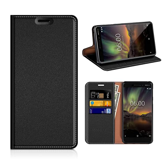 best sneakers bcaae 44469 Nokia 6.1 2018 Wallet Case, Mobesv Nokia 6 2018 Leather Case/Phone Flip  Book Cover/Viewing Stand/Card Holder for Nokia 6.1 (2018), Black