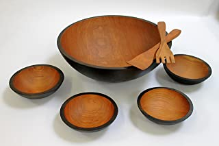 product image for 17 inch Solid Cherry Wooden Salad Bowl Set - Holland Bowl Mill