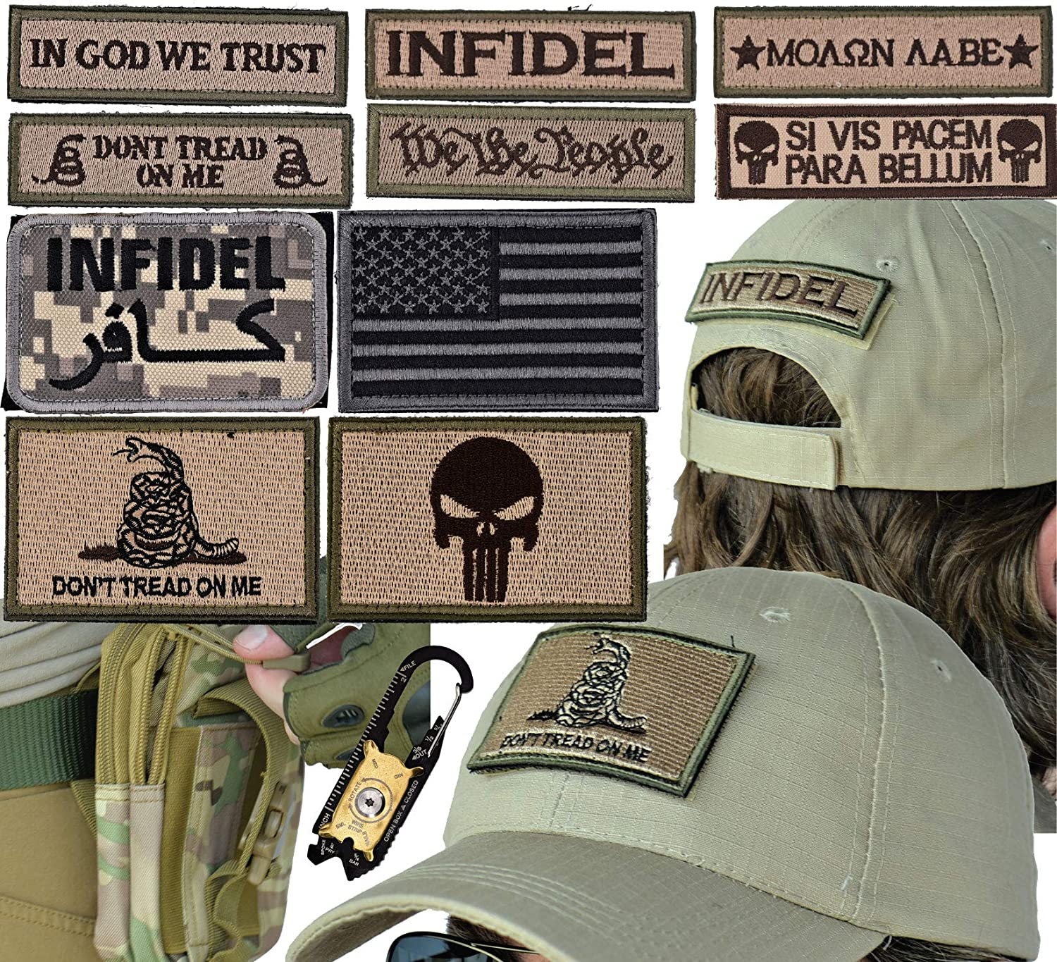 Military Tactical Hat Bundle: 20-in-1 Tool, Operator Cap Embroidered Morale  Patches (Velcro) Pouch Airsoft/Paintball - [CIA Desert Ops]