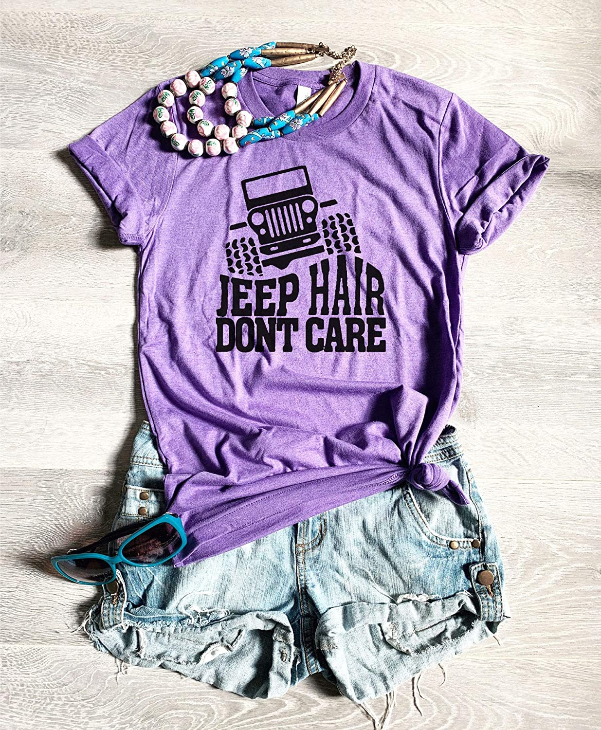 Jeep Hair Don't Care. Summer Road T Shirt. Unisex Fit. T Shirt. Vacation Trip Shirt. Free Shipping. Screen Printed With Eco Ink. Unisex Fit. Bella-Canvas Shirt.