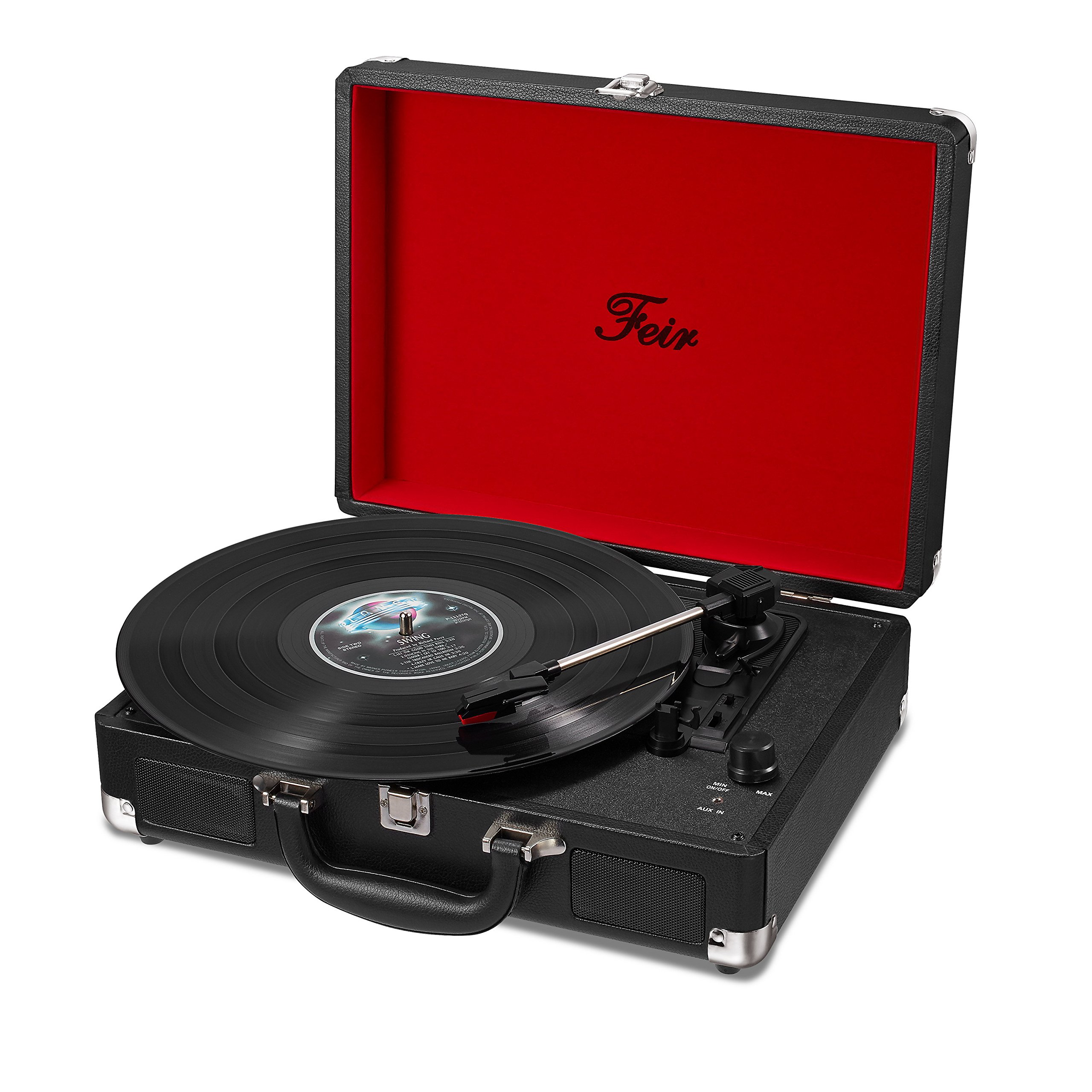 Vinyl Stereo Black Record Player 3 Speed Portable Turntable Suitcase Built in 2 Speakers RCA Line Out AUX Headphone Jack PC Recorder