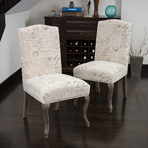Christopher Knight Home Crown Back French Script Beige Fabric Dining Chairs Set of 2