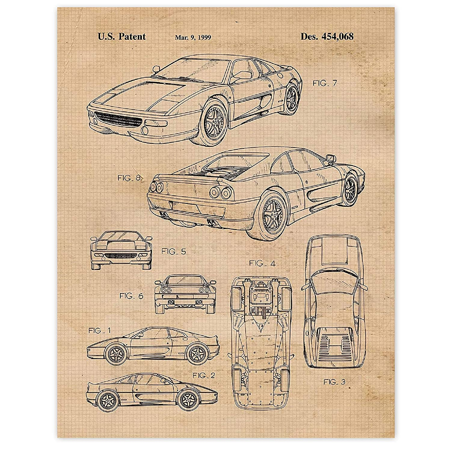 Amazon Com Vintage Ferrari F355 Patent Poster Prints Set Of 1 11x14 Unframed Photo Wall Art Decor Gifts Under 15 For Home Office Shop Garage Man Cave College Student Teacher Italy Cars