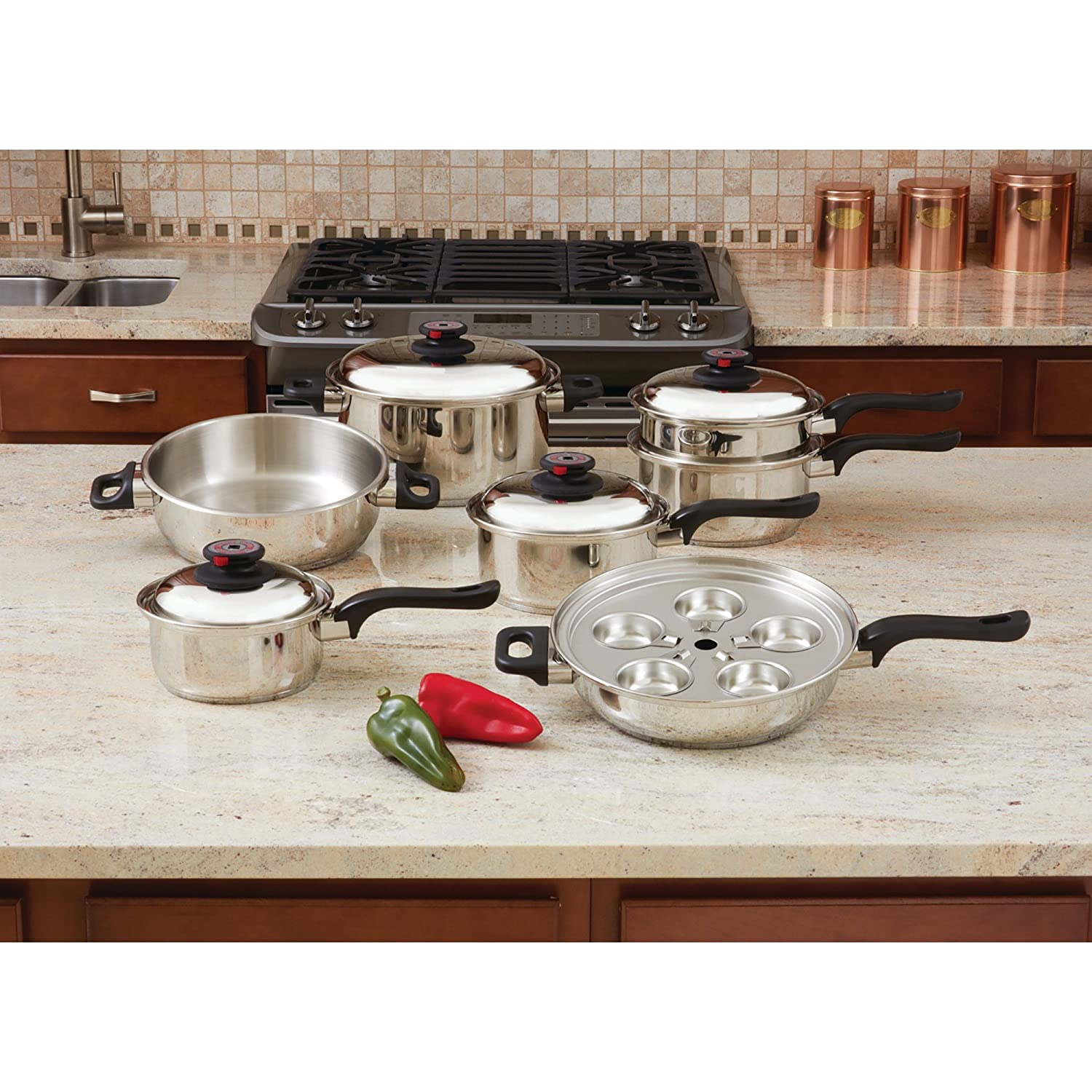 Amazon.com: World's Finest 7-Ply Steam Control 17pc T304 Stainless ...