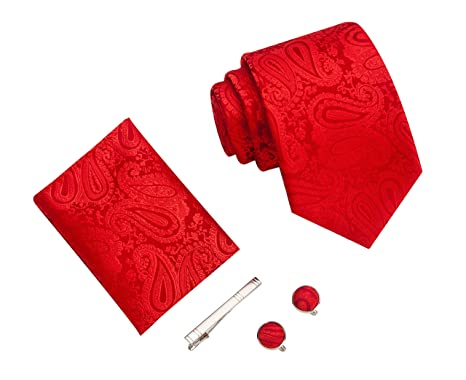dernières conceptions diversifiées nouveau style de 2019 dernière sélection Ensemble motif cachemire Cravate d'homme Mouchoir épingle et boutons de  manchette coffret cadeau