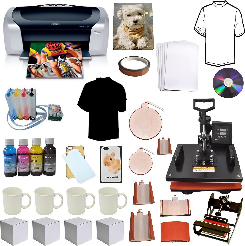 8in1 Pro Combo Heat Press, Photo Printer,CISS Ink, Tshirt,Mug,Phone Case Bundle