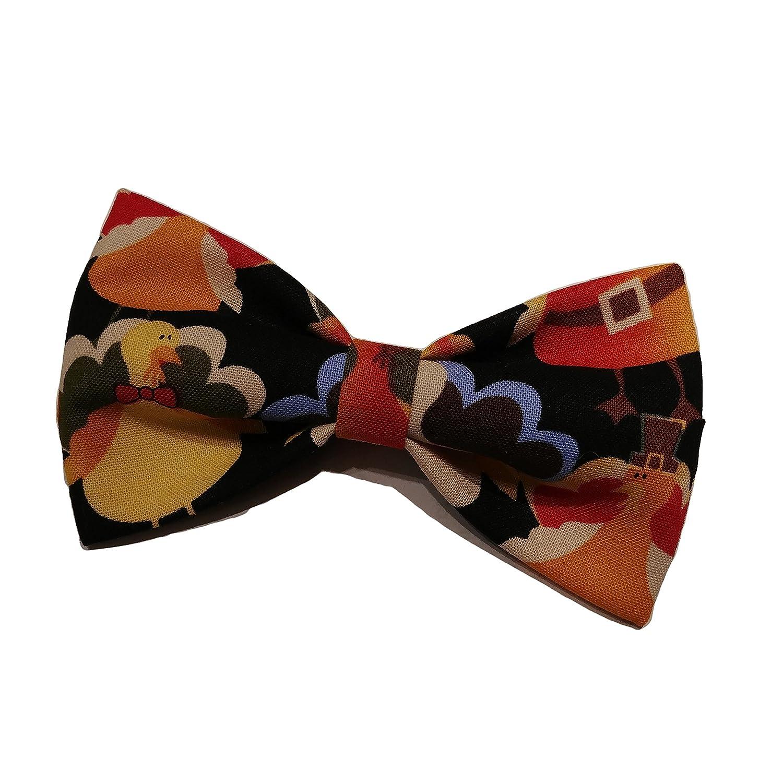Thanksgiving Turkeys Bow Tie - Clip on Bowtie - Holiday