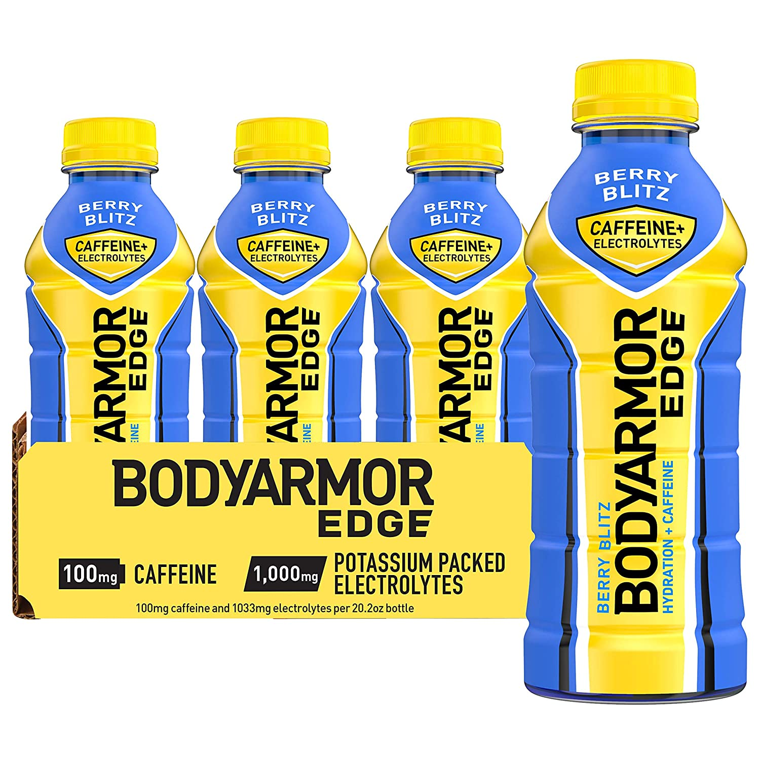 BODYARMOR EDGE Sports Drink with Caffeine, Berry Blitz, Potassium-Packed Electrolytes, Caffeine Boost, Natural Flavors With Vitamins, Perfect for Athletes 20.2 Fl Oz (Pack of 12)