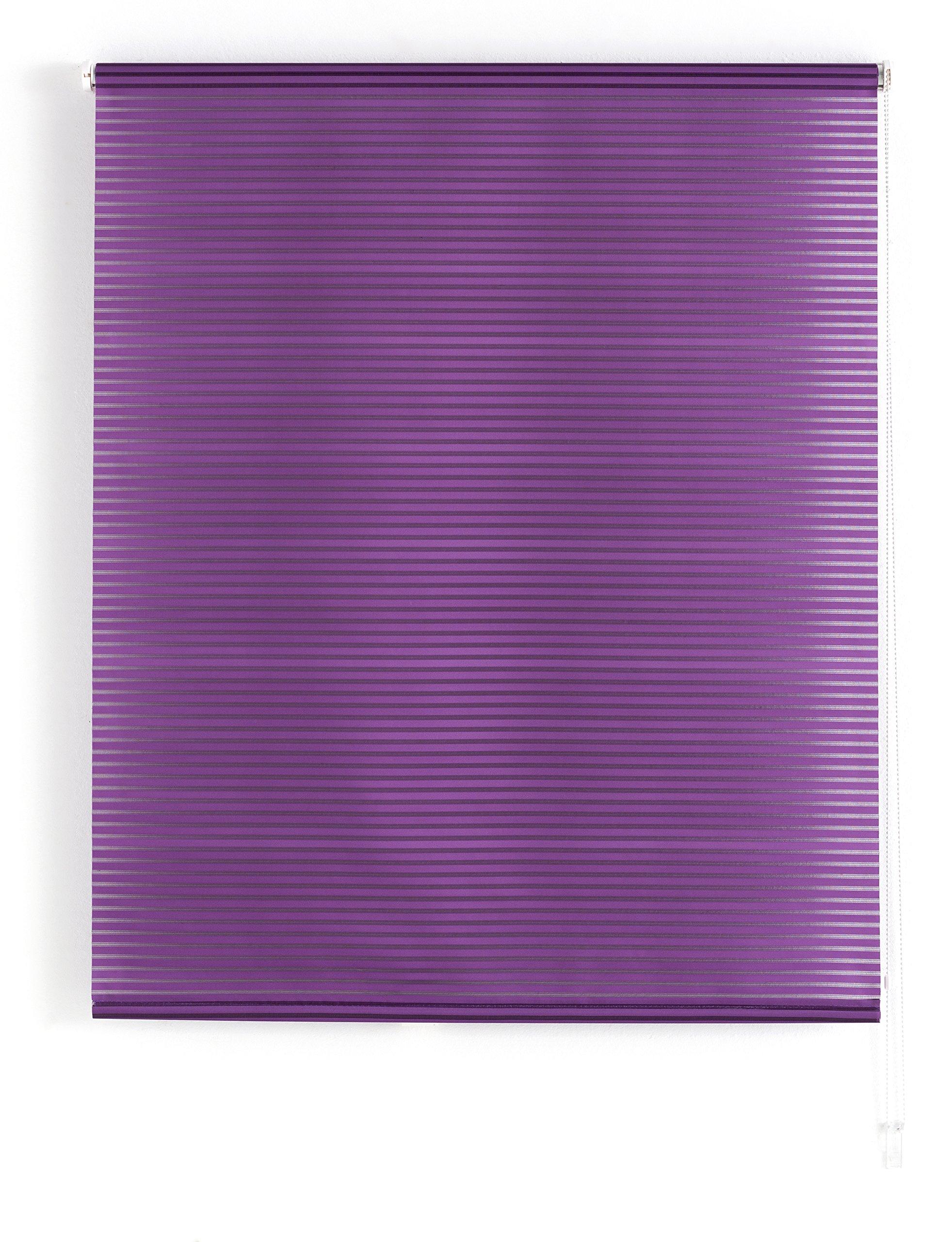 Blindecor Iris Estor Enrollable Translucido Rayado, Tela, Violeta, 160 x 180 cm product