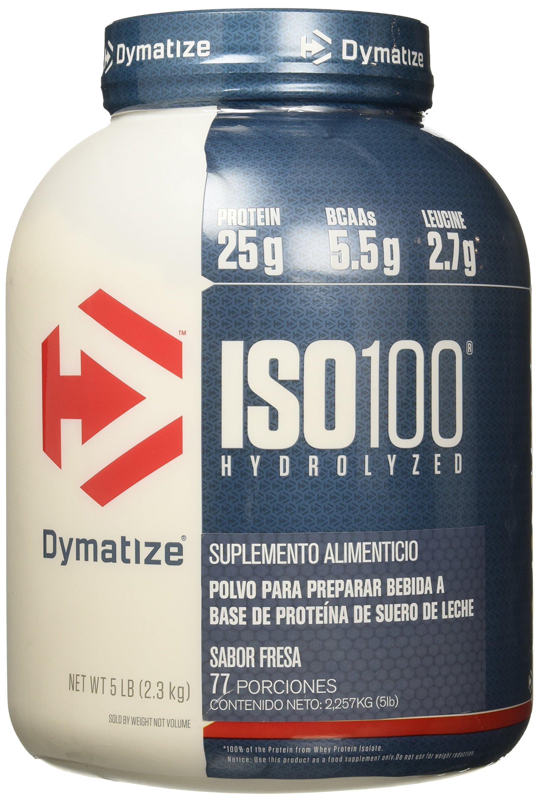 Dymatize ISO 100 Whey Protein Powder Isolate, Strawberry, 5 lbs