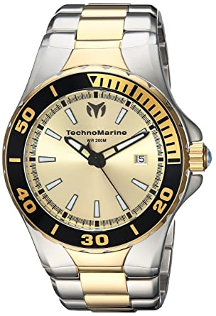 Technomarine Mens Manta Quartz Stainless Steel Casual Watch, Color:Two Tone (