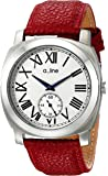 a_line Women's AL-80007-02-D-RD Pyar Silver Textured Dial Red Leather Watch