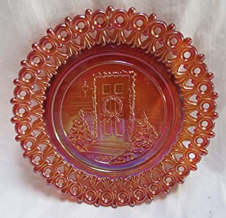 """product image for MOSSER Art Glass Amber Carnival Christmas Plate 1983 Reticulated Lace Edge 5.5"""""""