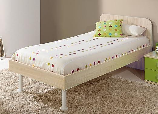 Abitti Estructura de Cama con Cabezal para Dormitorio Infantil o Juvenil en Color Arce con somier Incluido Medida 90x190 cm