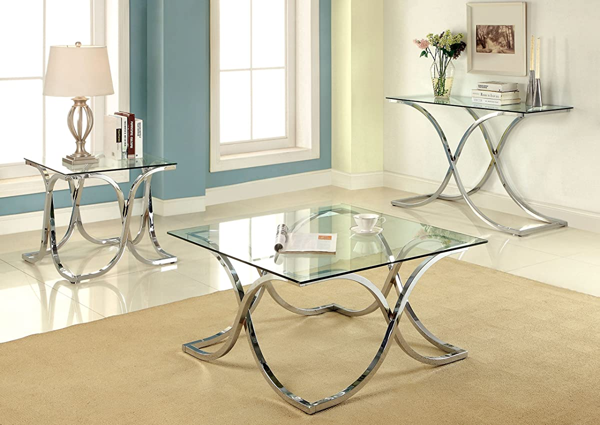Furniture of America Kavetto Contemporary Coffee Table, Chrome