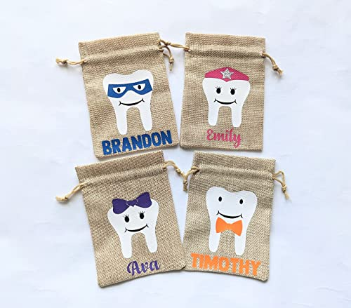 Personalized Boy with Sunglasses Tooth Fairy Bag  Tooth Holder  Tooth Fairy Pouch  My First Tooth