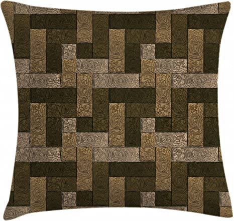 Amazon Com Ambesonne Chocolate Throw Pillow Cushion Cover Parquet Pattern In Wooden Style Geometric Design In Nature Inspired Art Decorative Square Accent Pillow Case 24 X 24 Brown Beige Home Kitchen
