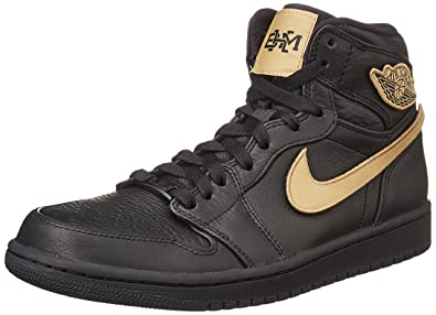 lowest price bdf82 16636 Nike Mens Air Jordan 1 Retro High BHM Black Gold Leather Size 8