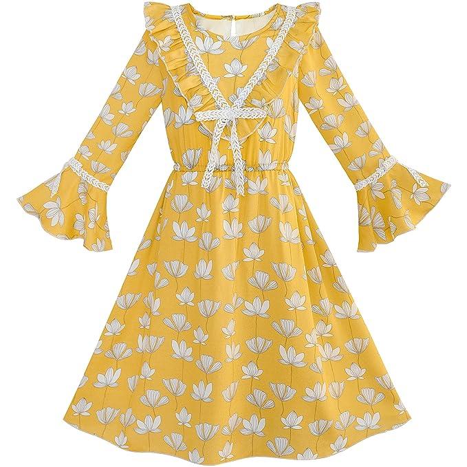 a187251e23f89 Amazon.com: Sunny Fashion Girls Dress Chiffon Bell Sleeve Floral Elegant  Dress Size 7-14: Clothing