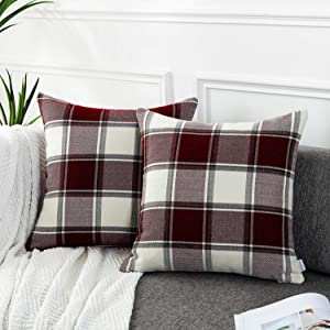 AmHoo Buffalo Plaid Stripe Checker Throw Pillow Covers Square Cushion Cover Farmhouse Classic Decoration Euro Pillowcase with Hidden Zipper,Set of 2 (Red Plaid,18x18inches)
