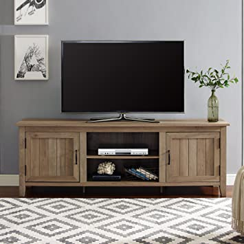 Amazon Com Walker Edison Furniture Company Modern Farmhouse Grooved Wood Stand With Cabinet Doors For Tv S Up To 80 Living Room Storage Shelves Entertainment Center 70 Inch Reclaimed Barnwood Furniture Decor