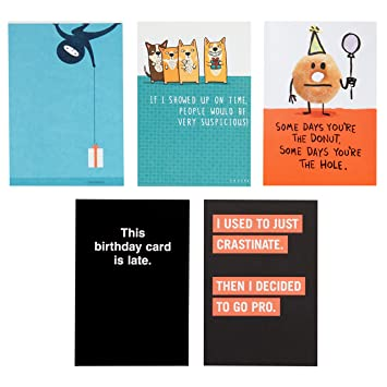 Amazon Hallmark Shoebox Funny Belated Birthday Card Assortment 5 Cards With Envelopes Office Products