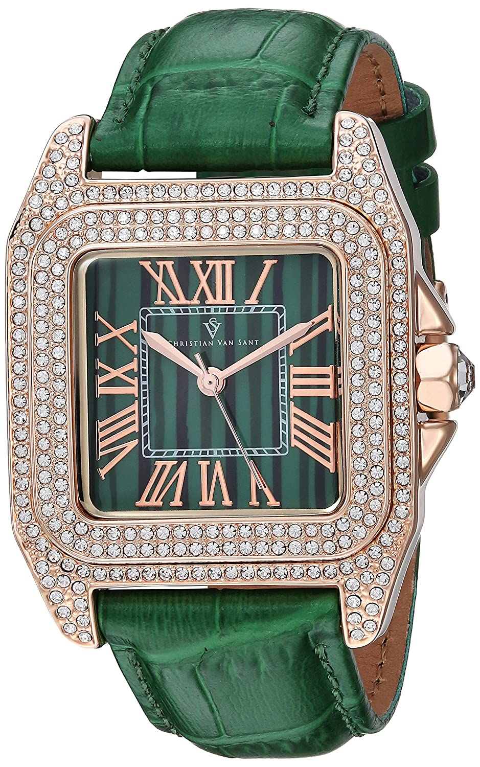 Christian Van Sant Women 's ' RADIEUSE 'クオーツBrass andレザーCasual Watch, Color : Green (Model : cv4424 ) B079S6KFSX