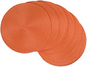 "DII, Classic Round Placemats, Woven , Set of 6, 15"" Diameter, Orange"