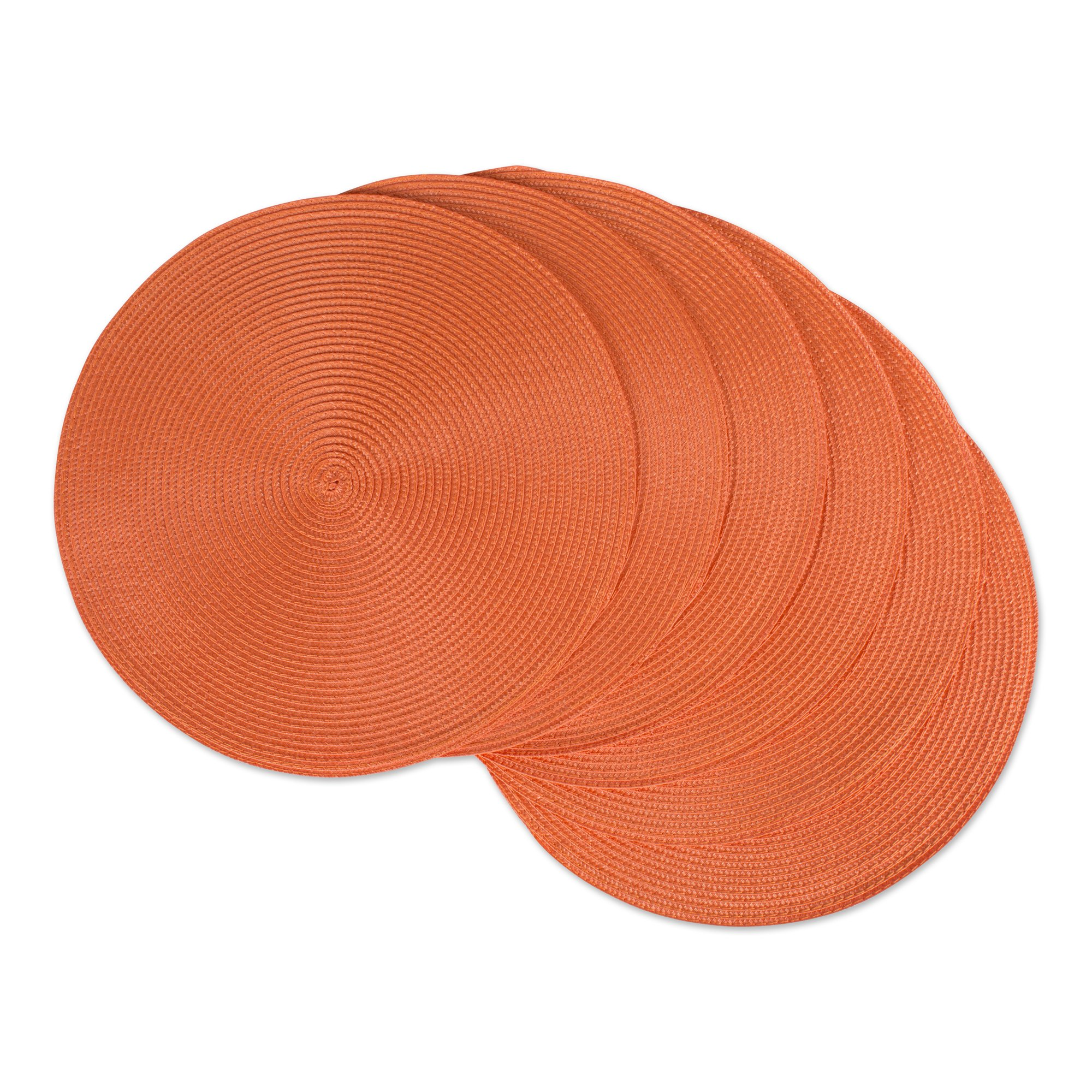 DII CAMZ33314 Round Woven Placemat Set Of 6 - Perfect For Fall Halloween Dinner Parties Bbqs And Everyday Use, Orange