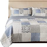 SLPR Sweet Dreams 3-Piece Real Patchwork Cotton Quilt Set (Queen) | with 2 Shams Pre-Washed Reversible Machine Washable Lightweight Bedspread Coverlet