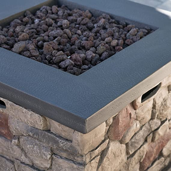 Amazon.com : Crawford Outdoor Stone Finished Square Fire Pit - 40, 000 BTU : Garden & Outdoor