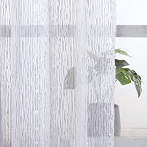 """VISIONTEX Jacquard Sheer Curtains, Top Silver Metallic Grommet Ticking Stripe Long Window Curtain Panel Drapes for Dinning Room, Living Room and Home Kitchen, 54"""" x 84"""", 2 Pieces, Grey"""