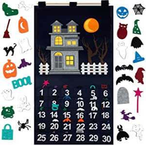 KAJ Decor Countdown to Halloween Advent Calendar for use at Home, School, Classroom, Office for use on Door or Wall with 30 Detachable Pieces for Many Years of Holiday Fun.