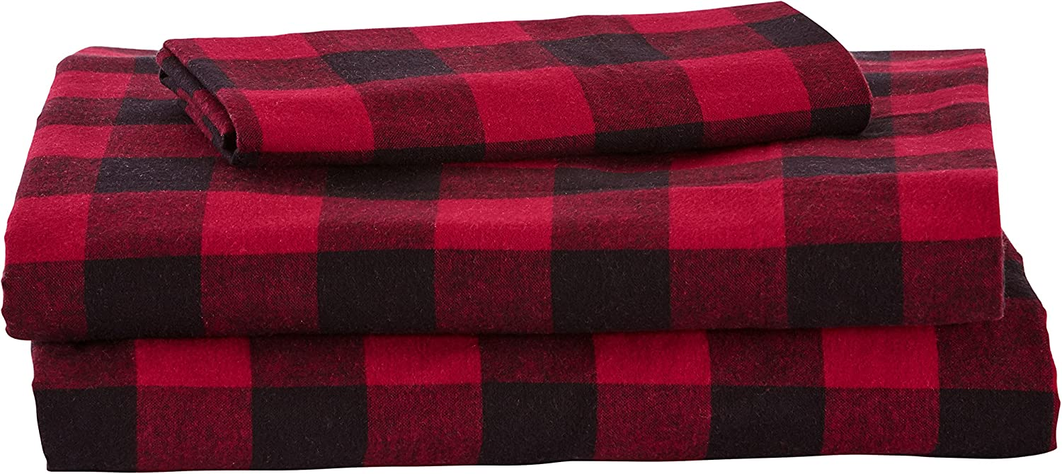 Amazon Com Amazon Brand Stone Beam Rustic Buffalo Check Flannel Bed Sheet Set Twin Xl Red And Black Home Kitchen