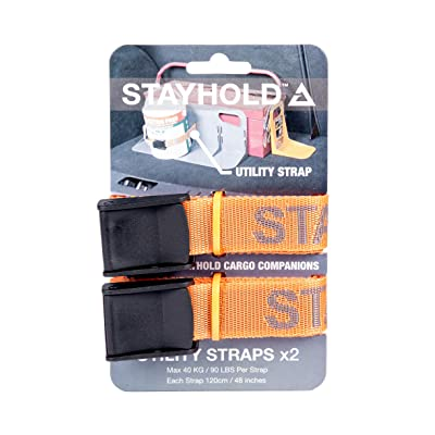 STAYHOLD Utility Cargo Straps for Car Trunk, 4ft Long | Strong Cargo Straps, Secures 90lbs of Cargo per Strap | 2Pk: Automotive