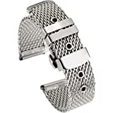 20mm Elegant High-end Milanese Mesh Metal Watch Bracelets 316L Stainless Steel Bands Replacements with Deployment Clasp