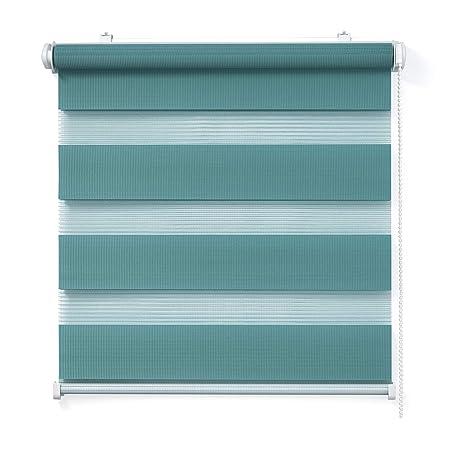 Doppelrollo, Türkis, 75x150cm - Duo-Rollo Klemm Fix mit Klemmträger, Fenster-Rollo/Seitenzug-Rollo Ohne Bohren, lichtdurchläs