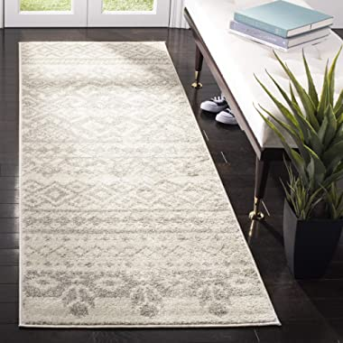 Safavieh Adirondack Collection ADR107B Ivory and Silver Rustic Bohemian Runner (2'6  x 8')