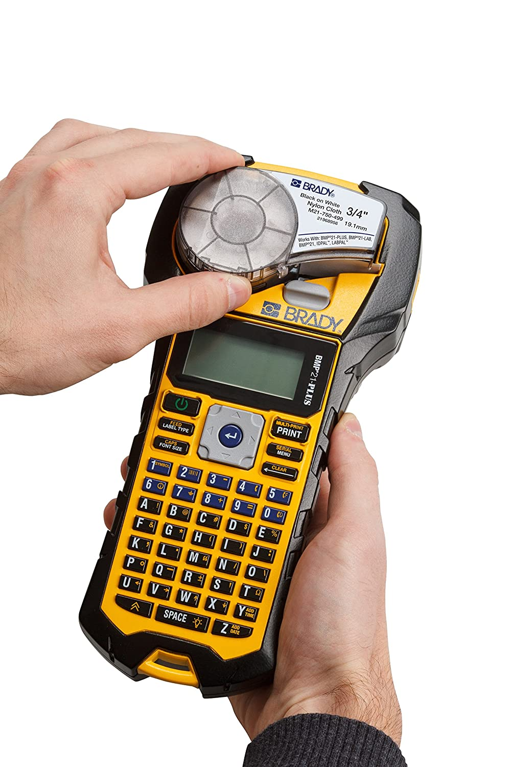 Multi-Line Print BRADY BMP21-PLUS Handheld Label Printer with Rubber Bumpers 6 to 40 Point Font