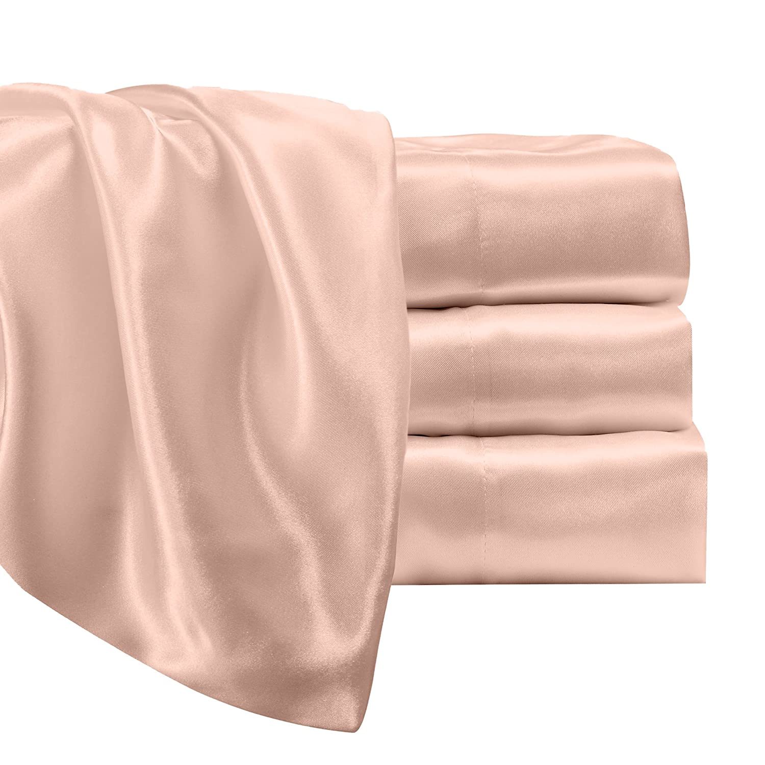 Satin Radiance Luxury Charmeuse Satin Sheet Set with Deep Fitting Pockets Blush Pink 223 3SS 4 Piece Sheet and Pillowcase Set Queen