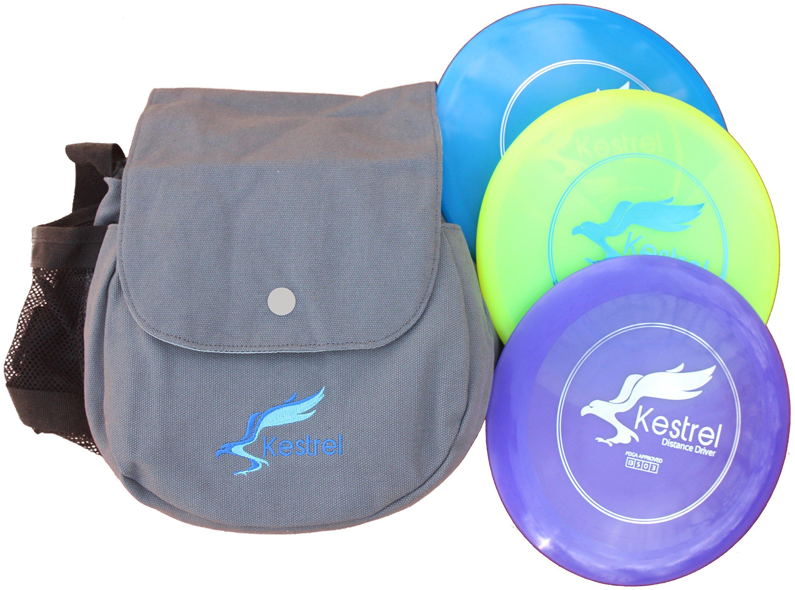 Kestrel Discs Golf Pro Set | 3 Disc Pro Pack Bundle + Bag | Disc Golf Set | Includes Distance Driver, Mid-Range and Putter | Small Disc Golf Bag (Gray) by Kestrel Discs