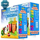 Popsicle Molds Double Set - BPA Free - 12 Ice Pop Makers + 2 Silicone Funnels + 2 Cleaning Brushes + Ice Cream Recipes E-book - by Lebice