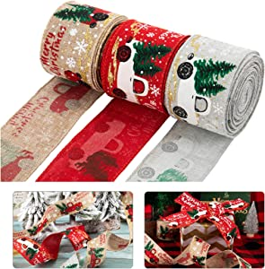 3 Pcs Christmas Burlap Ribbon Rolls- 5.5 Yards 2'' Wide Natural Weave Vintage Burlap Wired Edge Ribbon with Trunk Merry Xmas Blessing Tree for Christmas Crafts Wrapping Rustic Wreath Decor Floral Bows